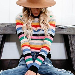 Vici Multicolored Striped Sweater